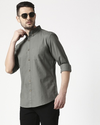 Shop Men's Olive Slim Fit Casual Oxford Shirt-Front