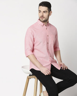 Shop Men's Pink Slim Fit Casual Oxford Shirt-Front