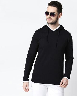 Shop Men's Plain Back Panel Full Sleeve Hoodie T-shirt(Black-White)-Front
