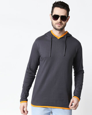Shop Men's Plain Back Panel Full Sleeve Hoodie T-shirt(Nimbus Grey-Neon Orange)-Front