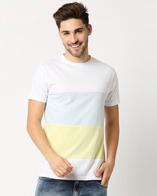Shop White Candy Color Block T-Shirt-Front
