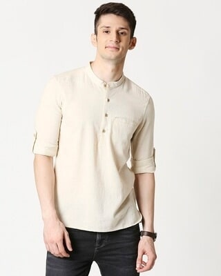 Shop Mens's Viscose Cotton Solid Beige Kurta-Front