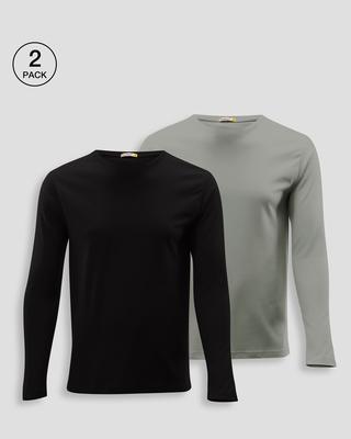 Shop Men's Full Sleeve T-shirt Pack of 2(Black & Grey )-Front