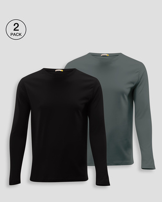 Shop Men's Plain Full Sleeve T-shirt Pack of 2 (Black & Grey)-Front