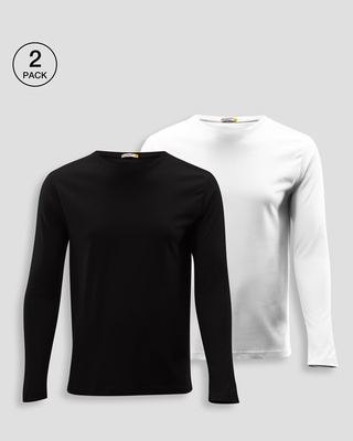 Shop Men's Plain Full Sleeve T-Shirt Pack of 2(Black & White )-Front