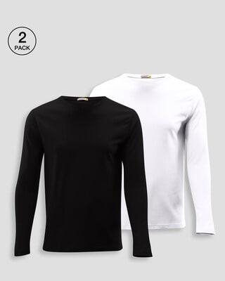Shop Men's Plain Full Sleeve T-Shirt Pack of 2(Black & White )-Front