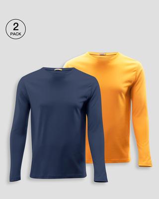 Shop Men's Plain Full Sleeve T-shirt Pack of 2(Blue & Orange )-Front