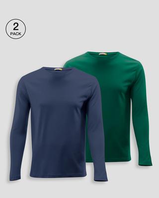 Shop Men's Plain Full Sleeve T-shirt Pack of 2(Green & Blue )-Front
