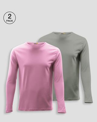 Shop Men's Plain Full Sleeve T-shirt Pack of 2(Pink & Grey)-Front