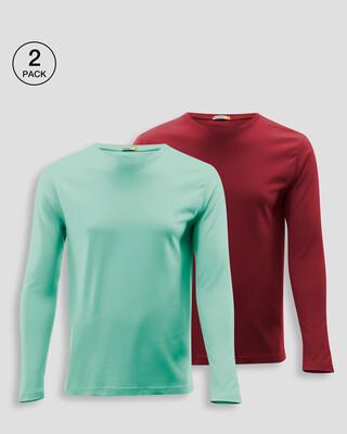 Shop Men's Plain Full Sleeve T-shirt Pack of 2(Red & Green)-Front