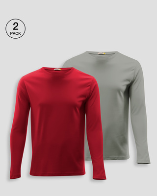 Shop Men's Plain Full Sleeve T-shirt Pack of 2(Red & Grey )-Front