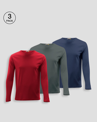 Shop Men's Plain Full Sleeve T-shirt Pack of 3 (Bold Red, Nimbus Grey, Galaxy Blue)-Front
