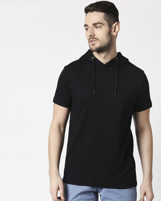 Shop Men's Plain Half Sleeve Hoodie T-shirt(Black)-Front