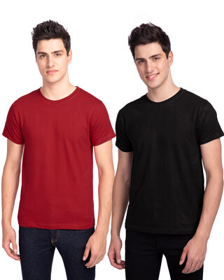 Shop Men's Plain Half Sleeve T-Shirt Pack of 2 (Black & Red)-Front