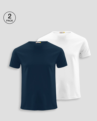 Shop Men's Plain Half Sleeve T-shirt Pack of 2(Blue & White)-Front