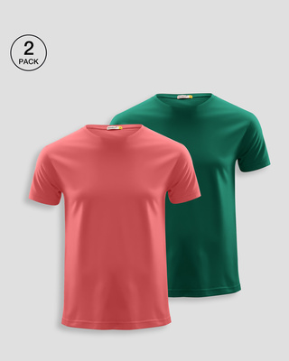 Shop Men's Plain Half Sleeve T-shirt Pack of 2(Red & Green)-Front