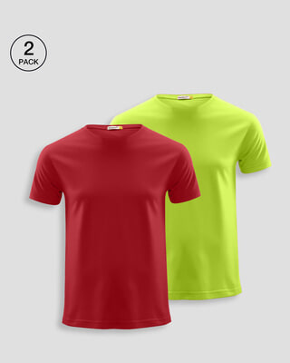 Shop Men's Plain Half Sleeve T-shirt Pack of 2(Bold Red & Neon Green)-Front