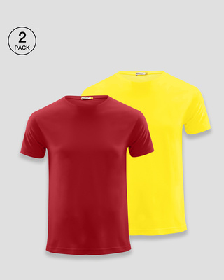 Shop Men's Plain Half Sleeve T-shirt Pack of 2(Red & Pineapple Yellow)-Front