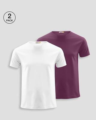 Shop Men's Plain Half Sleeve T-shirt Pack of 2(Whie & Purple)-Front