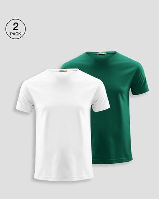 Shop Men's Plain Half Sleeve T-shirt Pack of 2(White & Green)-Front