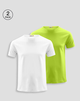 Shop Men's Plain Half Sleeve T-shirt Pack of 2(White & Neon Green)-Front