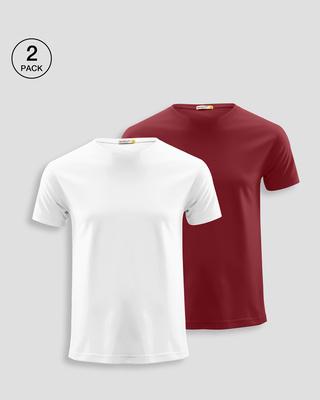 Shop Men's Plain Half Sleeve T-shirt Pack of 2 (White & Red)-Front