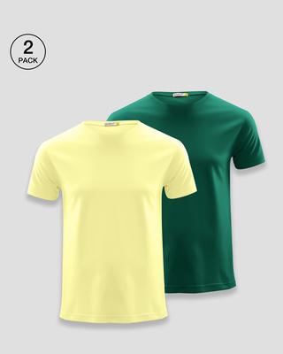 Shop Men's Plain Half Sleeve T-shirt Pack of 2(Yellow & Green)-Front