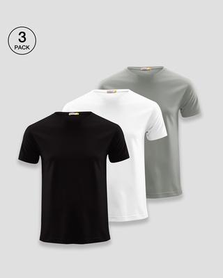 Shop Men's Plain Half Sleeve T-Shirt Pack of 3(Black, White & Grey)-Front
