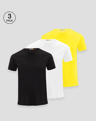 Shop Men's Plain Half Sleeve T-shirt Pack of 3(Black, White & Pineapple Yellow)-Front