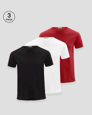 Shop Men's Half Sleeve Pack of 3 (Black,White & Red)-Front