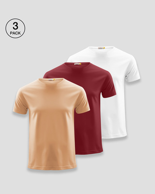 Shop Men's Plain Half Sleeve T-shirt Pack of 3 (Brown, Scarlet Red, White)-Front