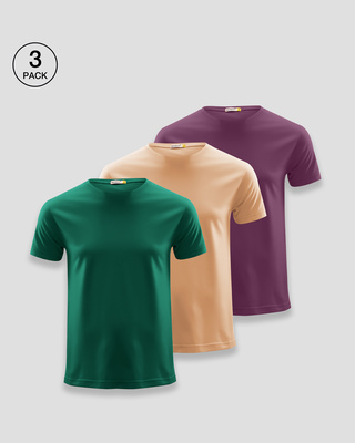 Shop Men's Plain Half Sleeve T-shirt Pack of 3(Green, Beige & Purple)-Front