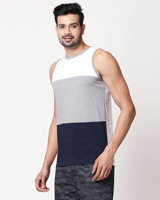 Shop Men's Plain Horizontal Three Panel Vest(White-Meteor Grey-Navy Blue)-Front