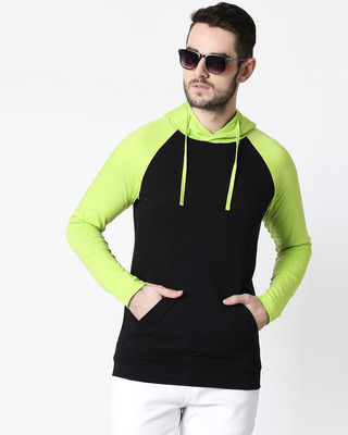 Shop Men's Plain Raglan Full Sleeve Hoodie T-shirt(Black-Neon Green)-Front