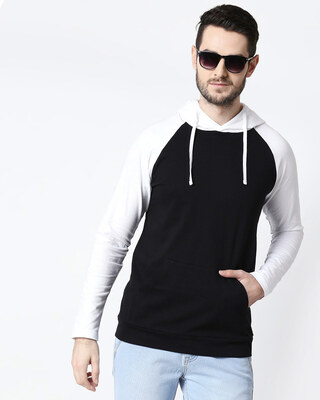 Shop Men's Plain Raglan Full Sleeve Hoodie T-shirt(White-Black)-Front
