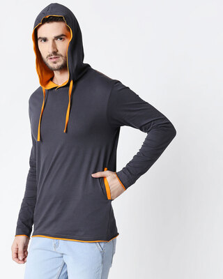 Shop Men's Plain Raw Edge Full Sleeve Hoodie T-shirt (Nimbus Grey-Neon Orange)-Front
