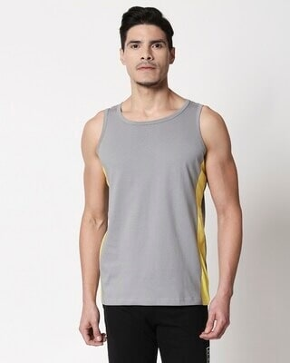 Shop Men's Plain Side Panel Vest (Meteor Grey-Pineapple Yellow)-Front