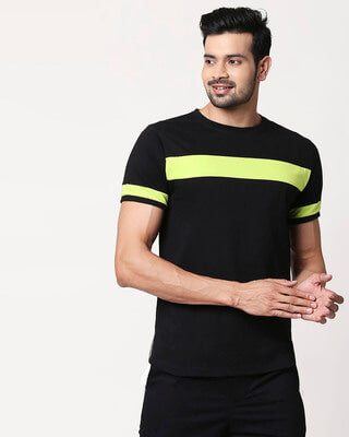 Shop Men's Plain Sport T-Shirt(Black-Neon Green)-Front