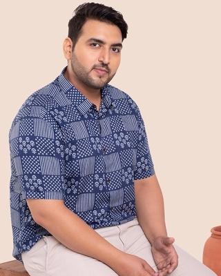 Shop Men's Printed Half Sleeves Plus Shirt-Front