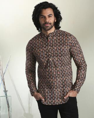 Shop Men's Printed Mandarin Collar Black Short Kurta-Front