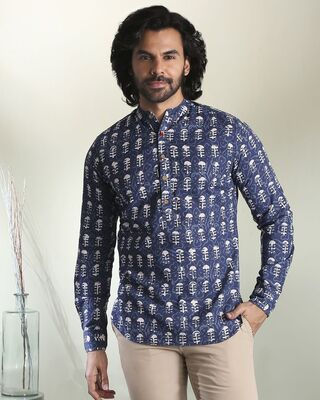 Shop Men's Printed Mandarin Collar Indigo Short Kurta-Front