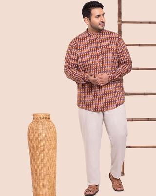 Shop Men's Printed Mandarin Collar Plus Shirt-Front