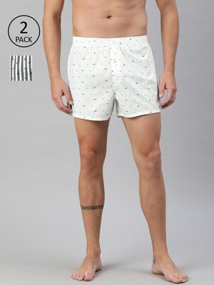 Shop The Bear House Men's Printed Woven Boxers ( Pack of 2 )-Front