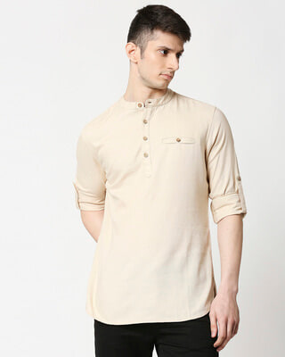 Shop Men's Relaxed Fit Beige Solid Short Kurta-Front