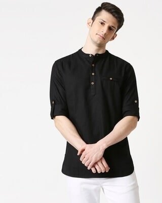 Shop Men's Relaxed Fit Black Solid Short Kurta-Front