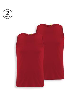 Shop Men's Round Neck Vest Pack of 2 (Red & Red)-Front