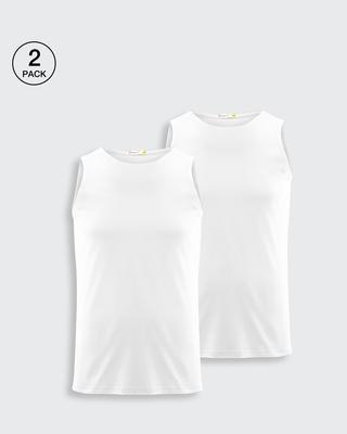 Shop Men's Round Neck Vest Pack of 2 (White)-Front