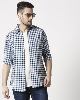 Shop Men's Slim Fit Casual Indigo Shirt-Front