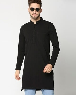 Shop Men's Solid Knit Black Kurta-Front