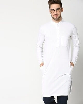 Shop Men's Solid Knit White Kurta-Front